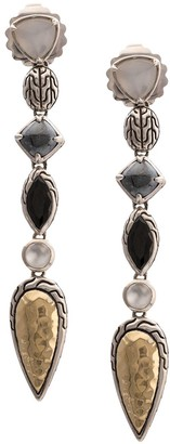 John Hardy Sterling silver and 18kt bonded yellow gold Classic Chain Linear moonstone and spinel earrings
