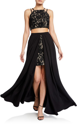 Aidan Mattox 2-Piece Crepe & Lace Gown Set