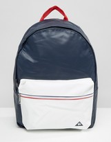 Le Coq Sportif Navy Leather Look Backpack With Tricolore Trim