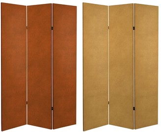 Oriental Furniture 6 ft. Tall Double Sided Leather Pattern Print Canvas Room Divider