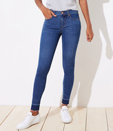 LOFT Curvy Let Down Hem Slim Pocket Skinny Jeans in Rich Dark Indigo