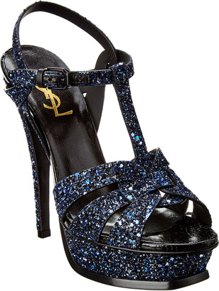 Saint Laurent Tribute 105 Glitter Leather Sandal