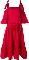 Alberta Ferretti cutout shoulder tiered dress - women - Cotton - 44
