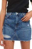 Topshop Women's Stud Rip Denim Miniskirt
