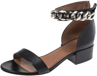 Givenchy Black Leather Ankle Chain Open Toe Sandals Size 39