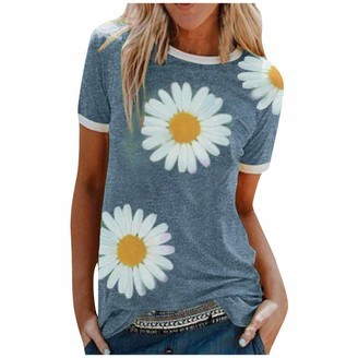 Lazzboy Women Short Sleeve Top Casual Solid Sunflowers Print O Neck Tunic Fit Ladies T Shirt Blouse (10