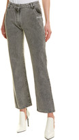Off-White Off White Cropped Dark Grey Wash Straight Leg Jean