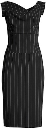 Black Halo Jackie O Pinstripe Midi Dress