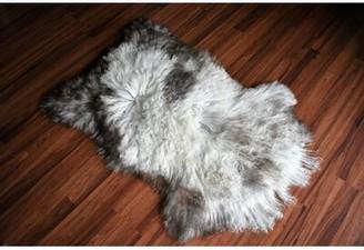 "Millwood Pines Chaska Animal Print Handmade 2'2"" x 3'2"" Sheepskin Cream/Brown Indoor / Outdoor Area Rug Millwood Pines"