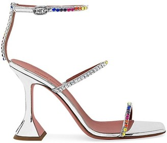 Amina Muaddi Leo Gilda Rainbow Crystal-Embellished Mirrored Satin Sandals