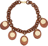 Kenneth Jay Lane Faux wood and gold-plated necklace