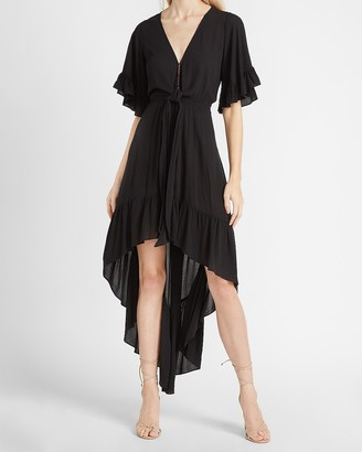 Express Flutter Sleeve Hi-Lo Maxi Dress