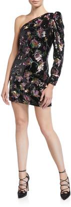 Self-Portrait Midnight Bloom One-Shoulder Sequined Cocktail Dress