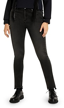 Marina Rinaldi Plus Idrovoro Step Hem Jeans in Black
