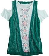 Mudd Girls 7-16 & Plus Size Cold Shoulder Graphic Print Tee & Crochet Vest Set