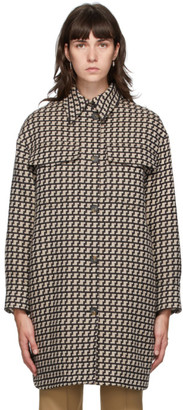 Stella McCartney Beige and Brown Houndstooth Kerry Coat