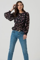 Liena LIENA Sheer Sleeve Blouse in Black Pink Floral Print