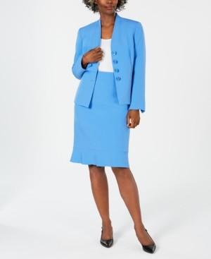 Le Suit Ruffled Skirt Suit