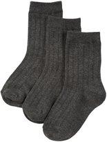 Jefferies Socks Ribbed Crew 3 Pack (Toddler/Kid) - Charcoal-12-6