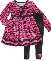 Flapdoodles Kids Set, Little Girls Zebra Dress & Leggings
