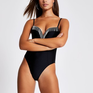 River Island Womens Black diamante tassel plunge swimsuit