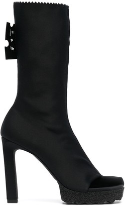 Off-White High-Heeled Mid-Calf Boots