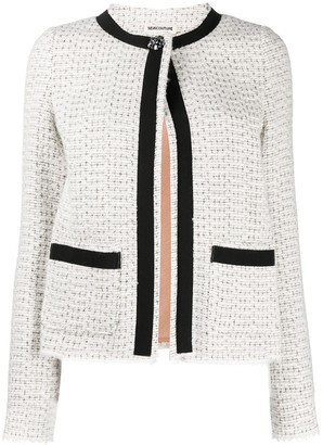 Semi-Couture Contrast Trim Tweed Jacket