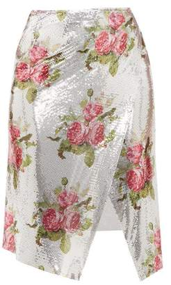 Paco Rabanne Floral-print Chainmail Wrap Skirt - Womens - Silver Multi