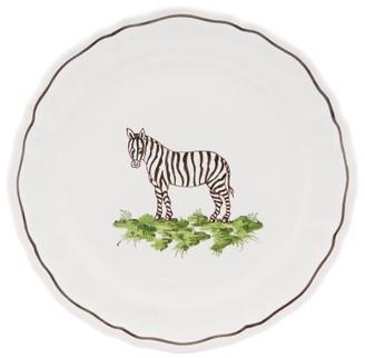 Zdg - Safari Hand-painted Faience-ceramic Side Plate - Womens - White Multi