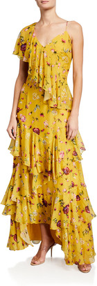 Flor Et. Al Flor Et.Al Melissa Rosebud Printed Silk Chiffon Tiered Ruffle Gown