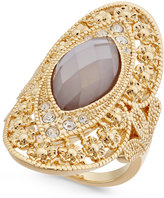 INC International Concepts Gold-Tone Large Stone Filigree Statement Ring, Only at Macy's