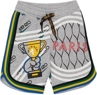 Kenzo Kids Printed Cotton Blend Interlock Shorts