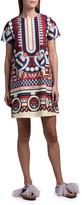 Marni Double J Geometric Short-Sleeve Mini Swing Dress