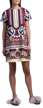Double J Geometric Short-Sleeve Mini Swing Dress