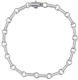 Sydney Evan Round Diamond Rectangle Bracelet - White Gold