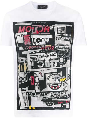 DSQUARED2 graphic motor print T-shirt