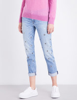 Hudson Riley embellished straight mid-rise cropped jeans