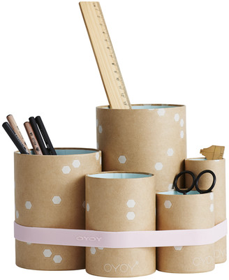 OYOY - Desk Organizer 'Tube in Tube' / Set of 5 Cylindrical Cardboard Tubes with Lid and Silicone band - cardboard