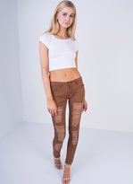 Missy Empire Catia Rust Low Rise Ripped Skinny Jeans