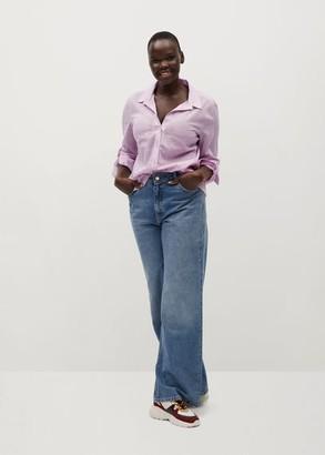 MANGO Contrasting cotton-blend shirt
