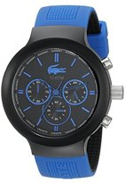 Lacoste Men's 2010654 Borneo Black Chronograph Watch with Blue Silicone Strap