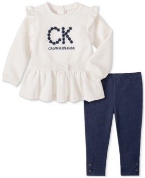Calvin Klein Baby Girls 2-Pc. Quilted Tunic & Denim Leggings Set