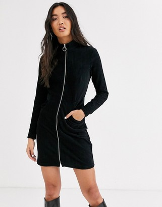 And other stories & zip detail mini dress in black