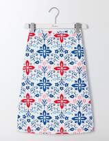 Boden Printed Cotton A-Line Skirt