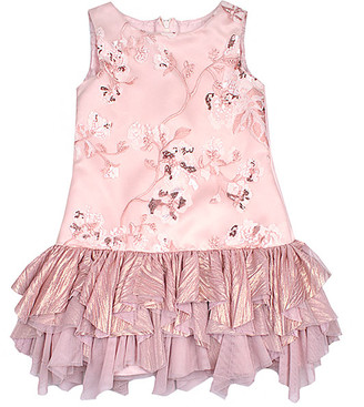 Biscotti Girls' Special Occasion Dresses PEACH - Pink Floral Ruffle Drop-Waist Dress - Toddler & Girls