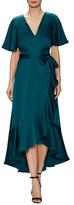 Temperley London Parrot Silk Wrap High Low Dress