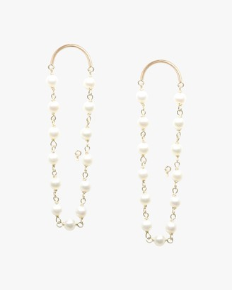 Poppy Finch Crescent Long Pearl Drop Earrings