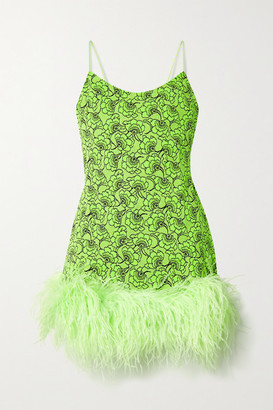 Leslie Amon Laurie Feather-trimmed Metallic Neon Floral-jacquard Mini Dress - Bright green