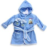 SpaSilk Baby Size 0-9M Train Hooded Terry Bathrobe and Booties Set in Blue