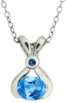 Gem Stone King 0.83 Ct Oval Swiss Blue Topaz and Blue Diamond 14k White Gold Pendant